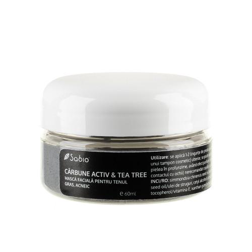 Mască pentru ten gras, acneic - Cărbune activ & Tea Tree