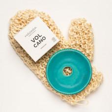 Mănușă de baie Aloe Sisal însoțită de săpunul VOLCANO și savonieră ceramică