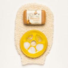 Mănușă din bumbac organic însoțită de săpunul cremos cu cătină și savonieră ceramică