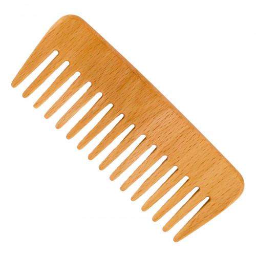 Pieptene din lemn de fag - pentru păr ondulat