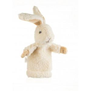 Iepuraș din lână – păpușă de mână