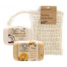 Săpunuri cremoase asortate cu săculeț pentru săpun