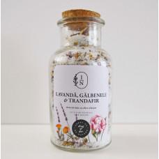 Sare de baie cu efect relaxant| lavandă, gălbenele și trandafir